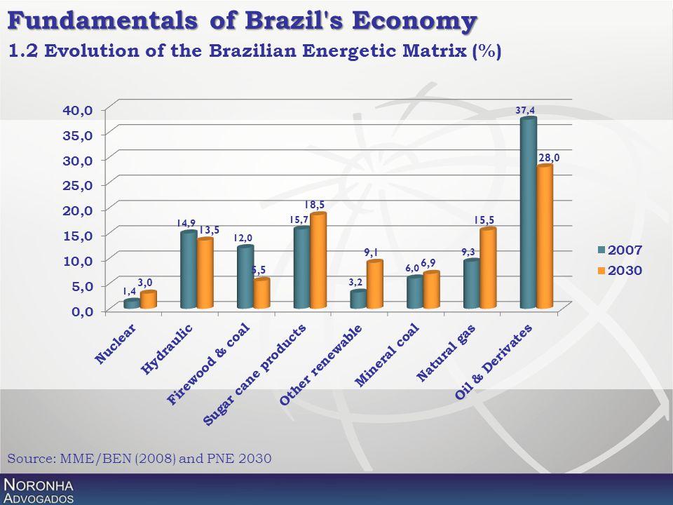 Fundamentals of Brazil's Economy Source: MME/BEN (2008) and PNE 2030 1.2 Evolution of the Brazilian Energetic Matrix (%)