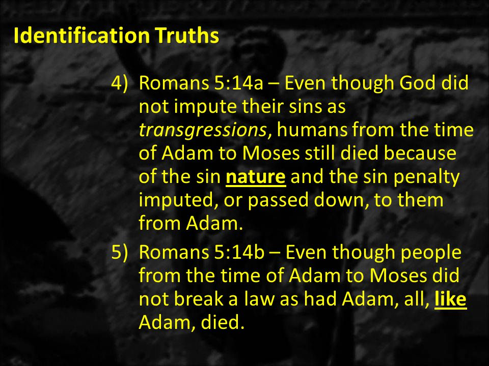 Identification Truths 4)Romans 5:14a – Even though God did not impute their sins as transgressions, humans from the time of Adam to Moses still died because of the sin nature and the sin penalty imputed, or passed down, to them from Adam.