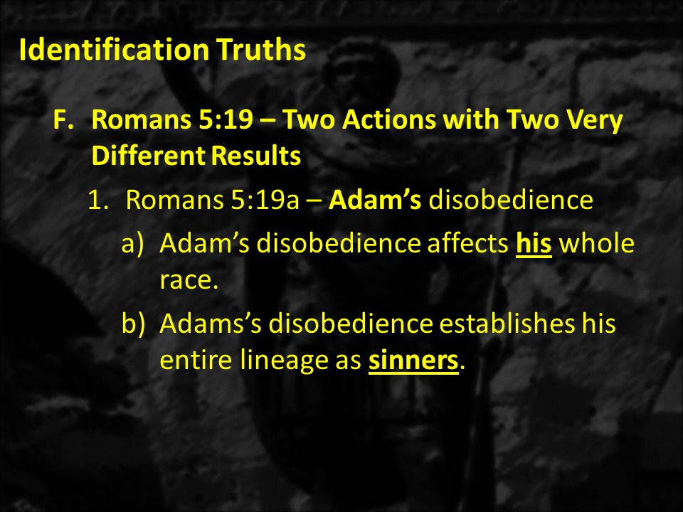 Identification Truths F.Romans 5:19 – Two Actions with Two Very Different Results 1.Romans 5:19a – Adam's disobedience a)Adam's disobedience affects his whole race.
