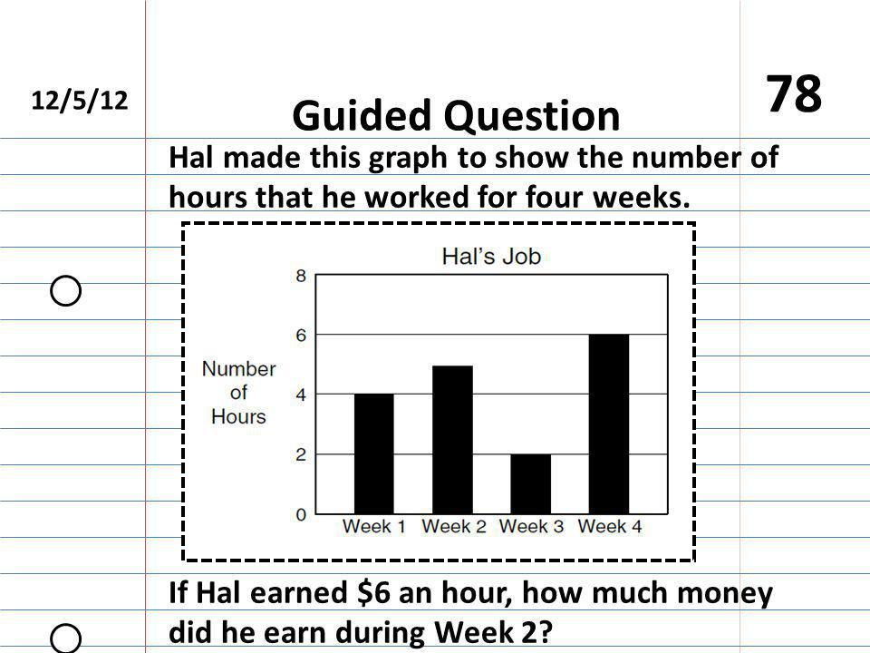 12/5/12 78 Guided Question If Hal earned $6 an hour, how much money did he earn during Week 2.