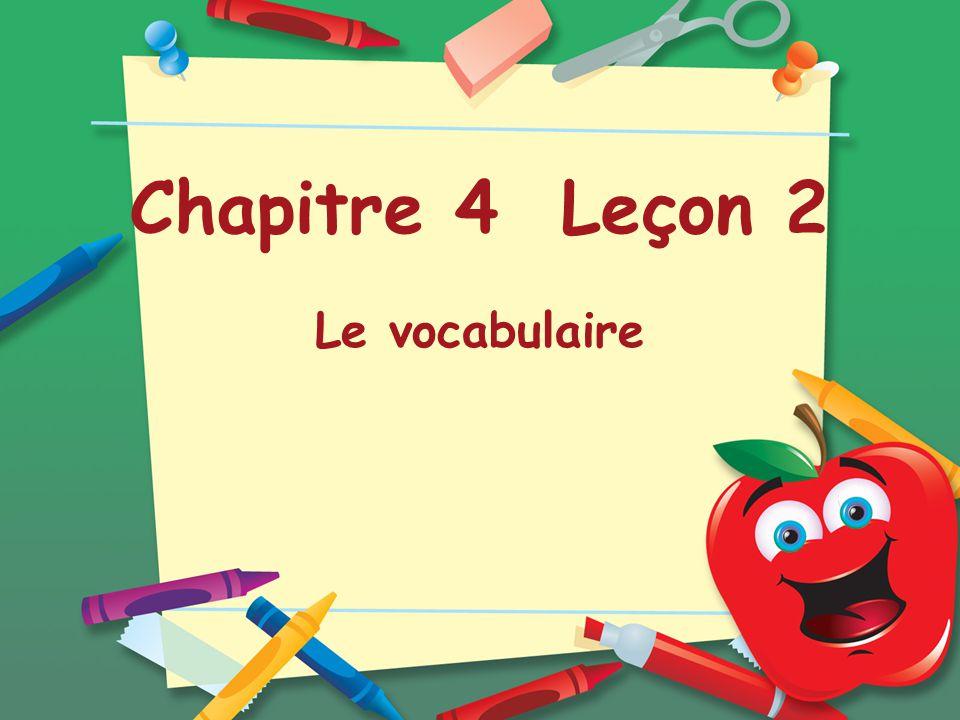 Chapitre 4 Leçon 2 Le vocabulaire