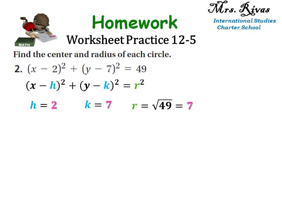Worksheet Practice 12-5 Mrs. Rivas International Studies Charter School