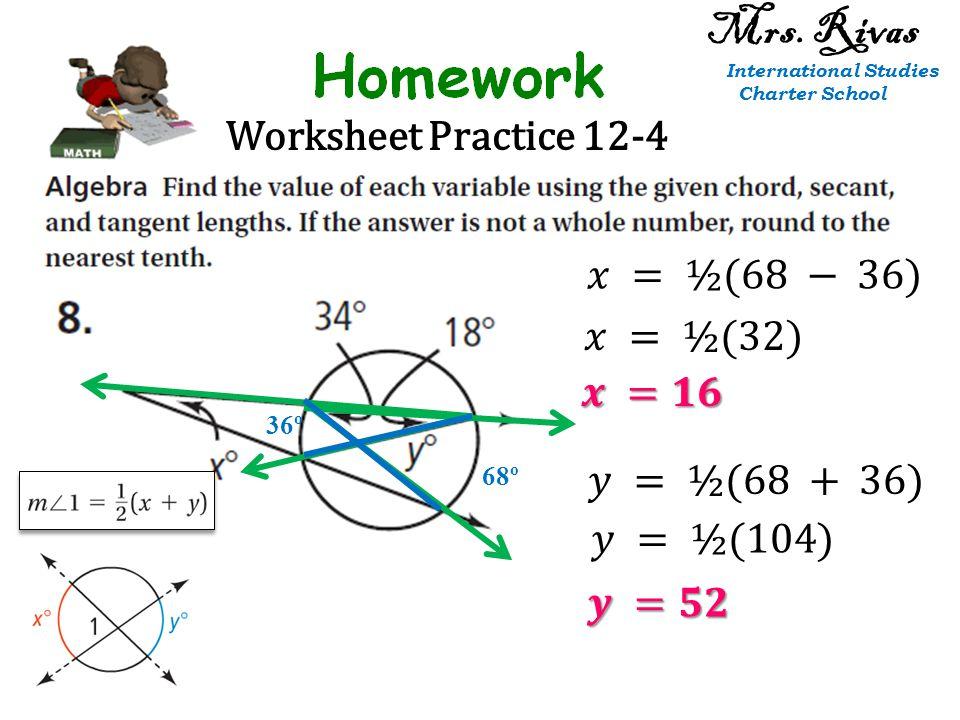 Worksheet Practice 12-4 36º 68º Mrs. Rivas International Studies Charter School