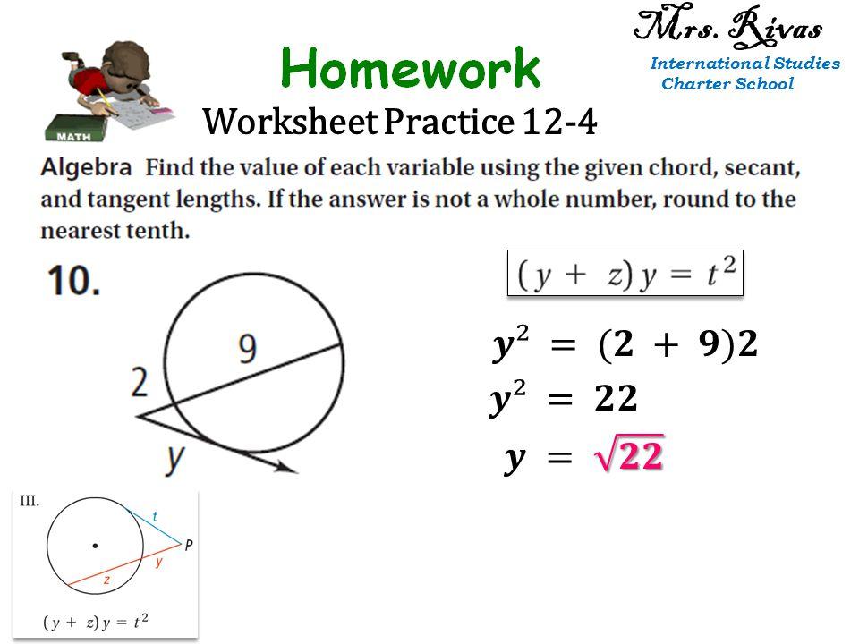 Worksheet Practice 12-4 Mrs. Rivas International Studies Charter School