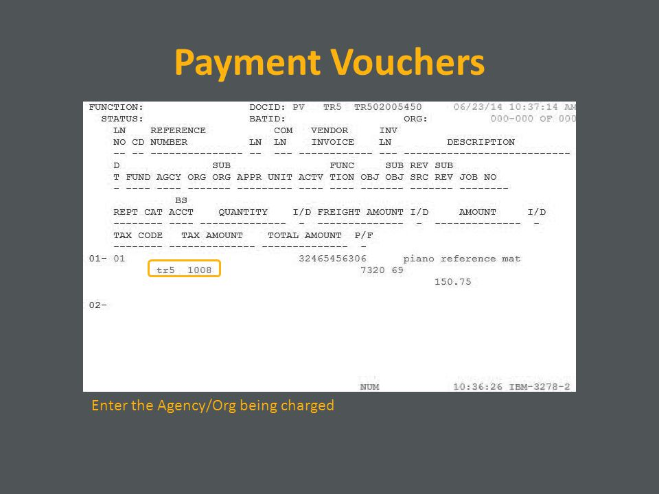Payment Vouchers Enter the Agency/Org being charged