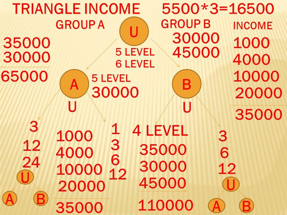 U AB 3 3 12 6 24 12 GROUP A GROUP B INCOME 1000 4000 10000 20000 35000 1000 4000 10000 20000 35000 30000 65000 30000 45000 30000 45000 110000 5 LEVEL 6 LEVEL 1 3 6 12 4 LEVEL TRIANGLE INCOME5500*3=16500 U U U AB U AB