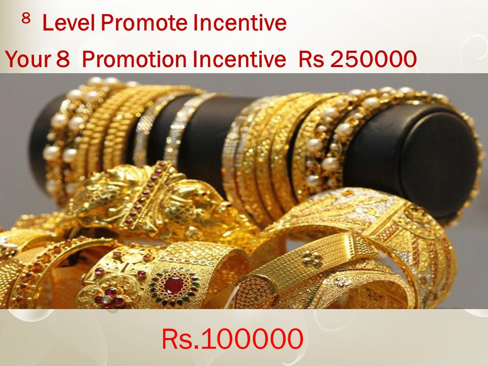8 Level Promote Incentive Your 8 Promotion Incentive Rs 250000 Rs.100000