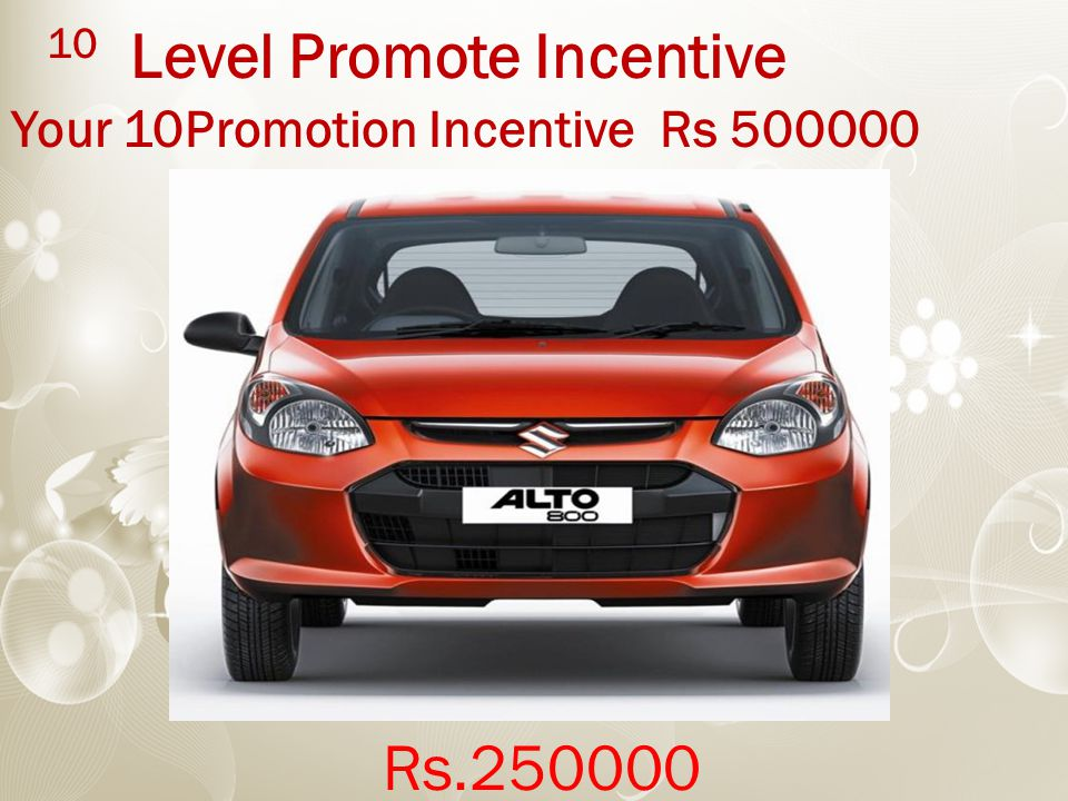 10 Level Promote Incentive Your 10Promotion Incentive Rs 500000 Rs.250000