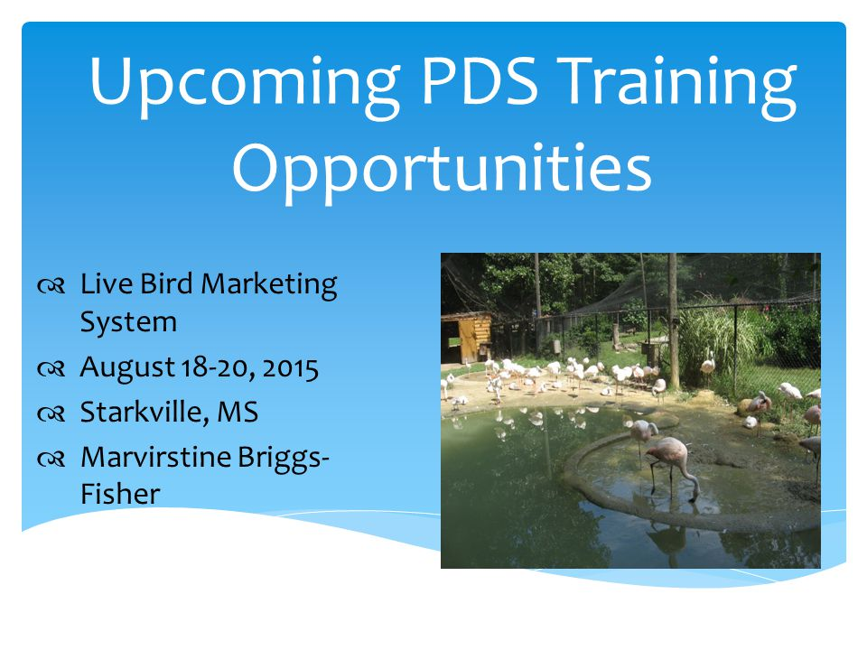 Upcoming PDS Training Opportunities  Live Bird Marketing System  August 18-20, 2015  Starkville, MS  Marvirstine Briggs- Fisher