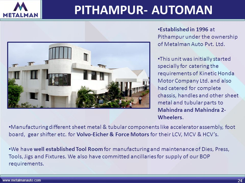 www.metalmanauto.com 24 Established in 1996 at Pithampur under the ownership of Metalman Auto Pvt. Ltd. This unit was initially started specially for