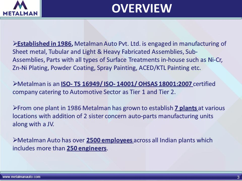 www.metalmanauto.com 24 Established in 1996 at Pithampur under the ownership of Metalman Auto Pvt.