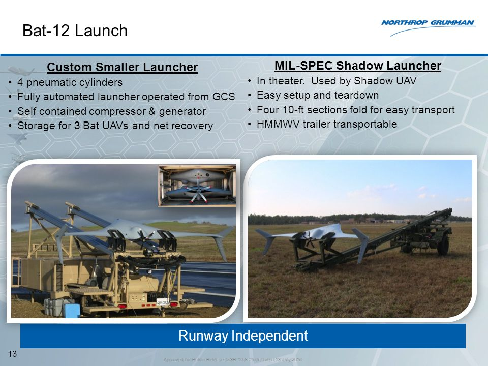 Runway Independent Bat-12 Launch 13 Custom Smaller Launcher 4 pneumatic cylinders Fully automated launcher operated from GCS Self contained compressor