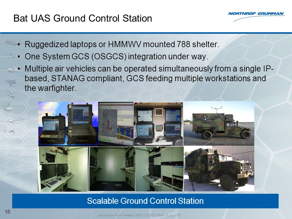 Scalable Ground Control Station Bat UAS Ground Control Station Ruggedized laptops or HMMWV mounted 788 shelter. One System GCS (OSGCS) integration und