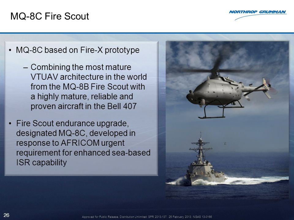 26 MQ-8C Fire Scout MQ-8C based on Fire-X prototype –Combining the most mature VTUAV architecture in the world from the MQ-8B Fire Scout with a highly