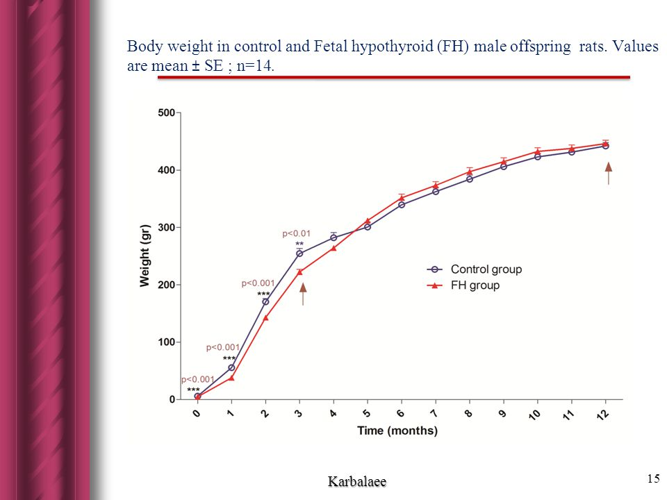 Body weight in control and Fetal hypothyroid (FH) male offspring rats.