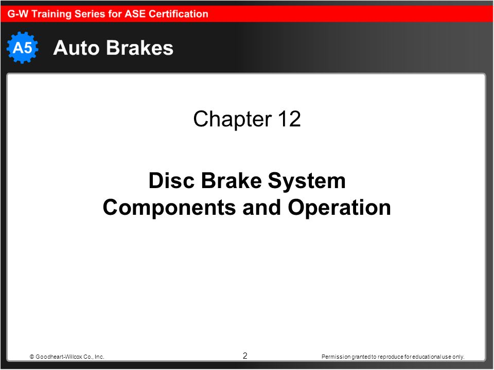 2 Disc Brake System Components and Operation Chapter 12 Permission granted to reproduce for educational use only. © Goodheart-Willcox Co., Inc.