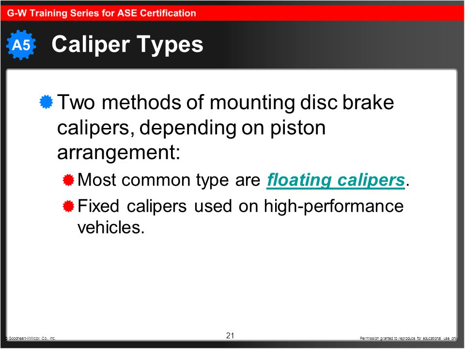21 Caliper Types Two methods of mounting disc brake calipers, depending on piston arrangement: Most common type are floating calipers.floating caliper