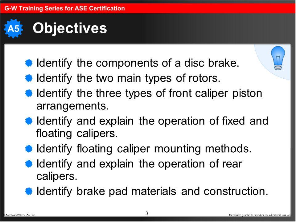 4 Disc Brake Rotor RotorRotor provides a smooth braking surface for disc brake pad contact.disc brake pad Stationary pads contact spinning rotor: Friction slows rotor.