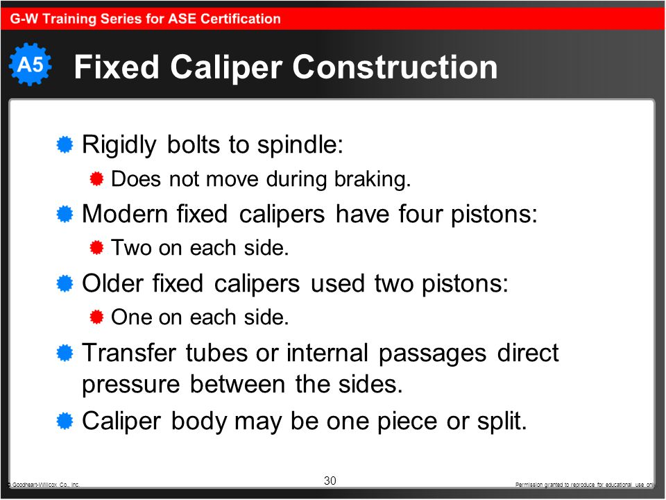 30 Fixed Caliper Construction Rigidly bolts to spindle: Does not move during braking. Modern fixed calipers have four pistons: Two on each side. Older