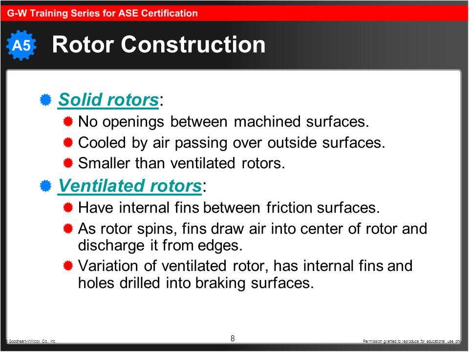 8 Rotor Construction Solid rotorsSolid rotors: No openings between machined surfaces. Cooled by air passing over outside surfaces. Smaller than ventil