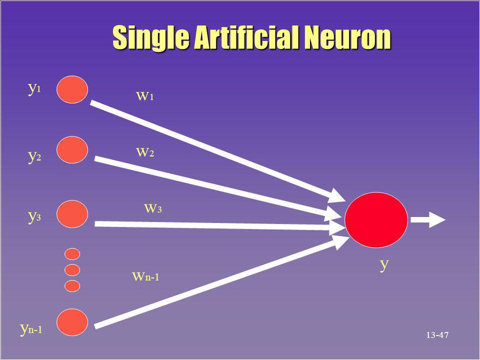 y1y1 y2y2 y3y3 y n-1 y w1w1 w2w2 w3w3 w n-1 Single Artificial Neuron 13-47