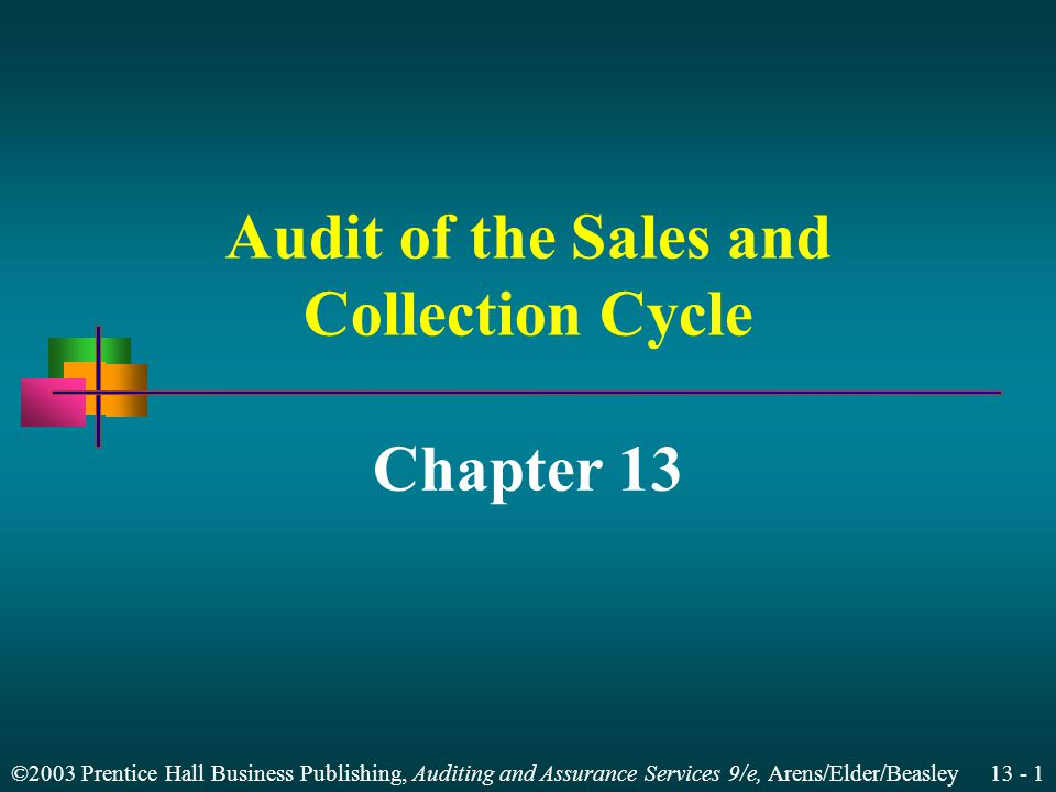 ©2003 Prentice Hall Business Publishing, Auditing and Assurance Services 9/e, Arens/Elder/Beasley 13 - 31 Direction of Tests for Sales Customer order Shipping document Duplicate sales invoice Sales journal General ledger Accounts receivable master file = Completeness Start Existence Start