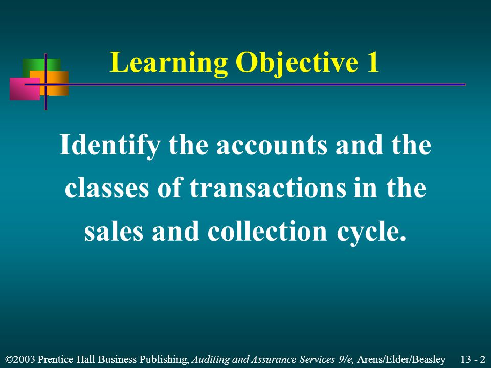 ©2003 Prentice Hall Business Publishing, Auditing and Assurance Services 9/e, Arens/Elder/Beasley 13 - 22 Effect of E-Commerce on the Sales and Collection Cycle Business-to-business (B2B) Business-to-consumer (B2C) Management's assertions for sales and collection activities remain the same.