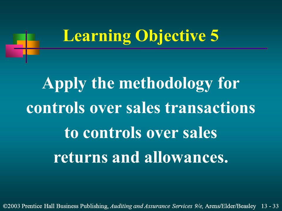 ©2003 Prentice Hall Business Publishing, Auditing and Assurance Services 9/e, Arens/Elder/Beasley 13 - 32 Summary of Methodology for Sales Column 1:Tr