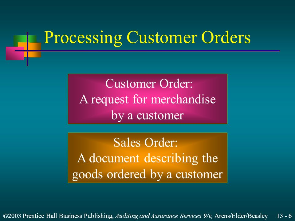 ©2003 Prentice Hall Business Publishing, Auditing and Assurance Services 9/e, Arens/Elder/Beasley 13 - 6 Processing Customer Orders Customer Order: A request for merchandise by a customer Sales Order: A document describing the goods ordered by a customer