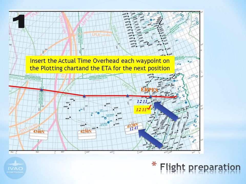 Insert the Actual Time Overhead each waypoint on the Plotting chartand the ETA for the next position ERPES 4230N 4340N 12 11 12 41 4120N 12 11