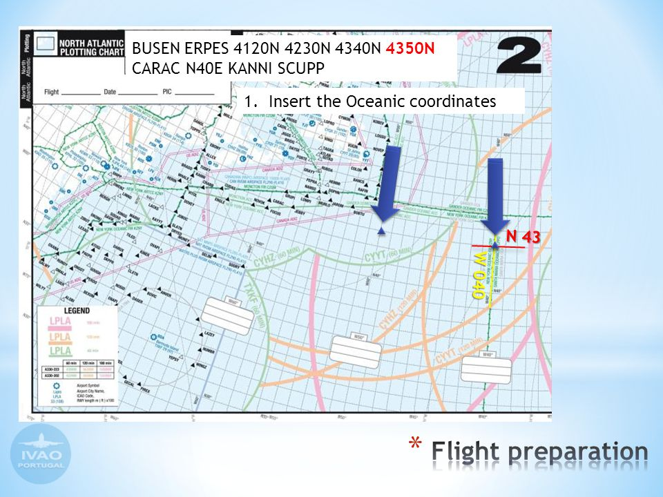 Insert the ETA for each waypoint on Plotting chart ERPES 4230N 4340N 12 11 12 41 13 40 14 38 4120N do the same with plotting chart 2