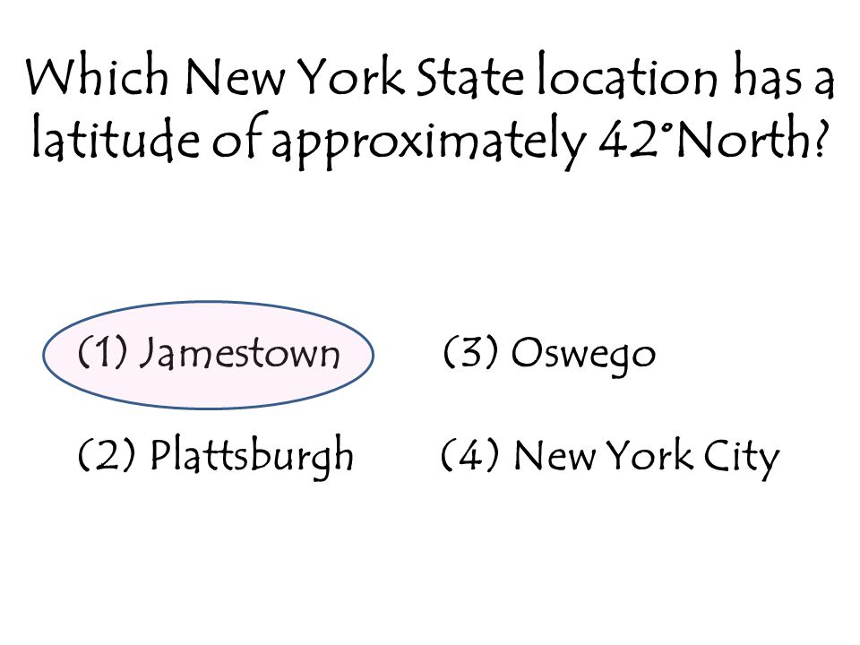 Which New York State location has a latitude of approximately 42°North.