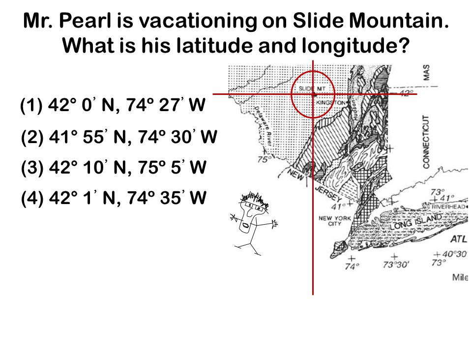 Mr.Pearl is vacationing on Slide Mountain. What is his latitude and longitude.