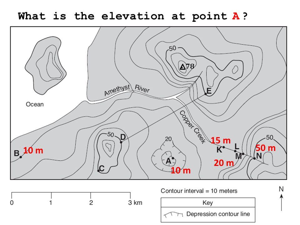 78. What is the elevation at point B? N M KA 10 m 50 m 20 m 15 m 10 m