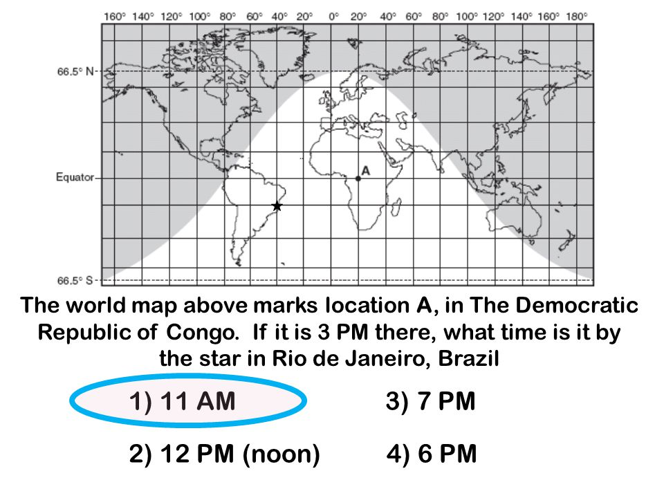 The world map above marks location A, in The Democratic Republic of Congo. If it is 3 PM there, what time is it by the star in Rio de Janeiro, Brazil