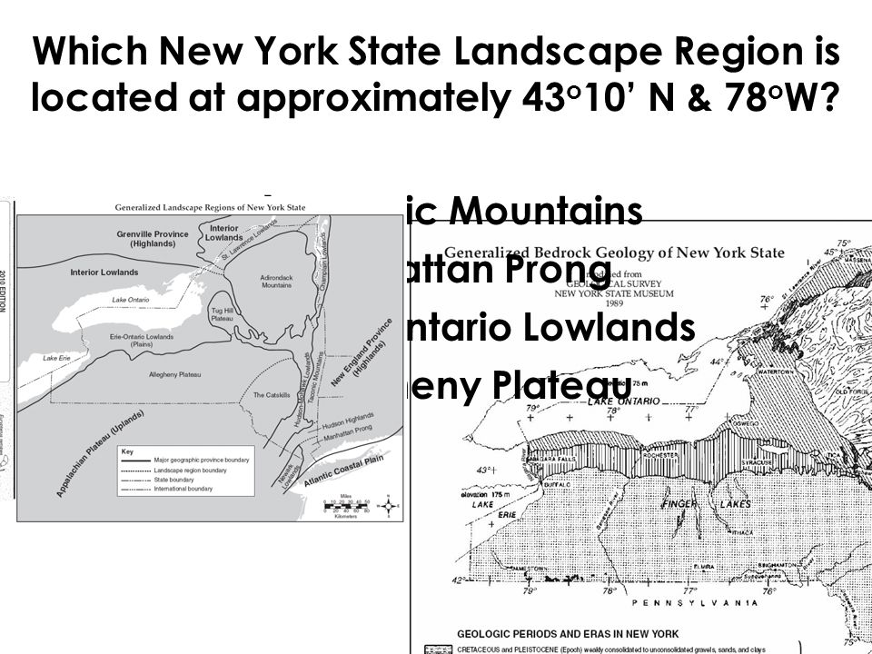 Which New York State Landscape Region is located at approximately 43 o 10' N & 78 o W.