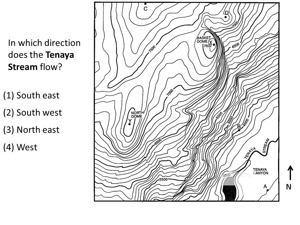 N In which direction does the Tenaya Stream flow? (1) South east (2) South west (3) North east (4) West