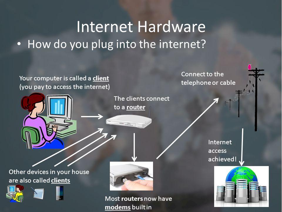 Internet Hardware How do you plug into the internet.