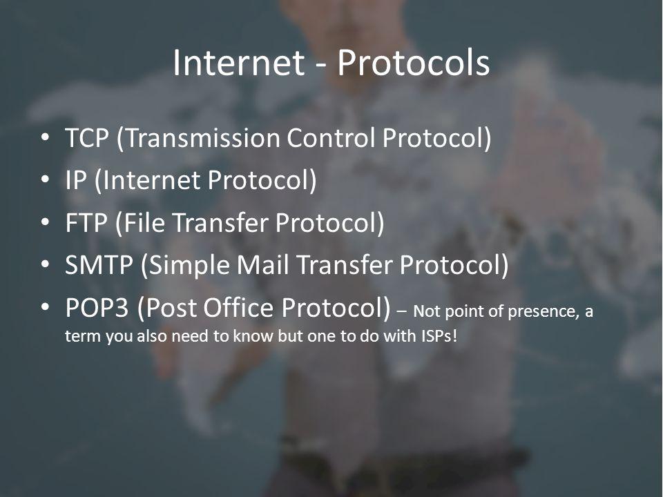 Internet - Protocols TCP (Transmission Control Protocol) IP (Internet Protocol) FTP (File Transfer Protocol) SMTP (Simple Mail Transfer Protocol) POP3