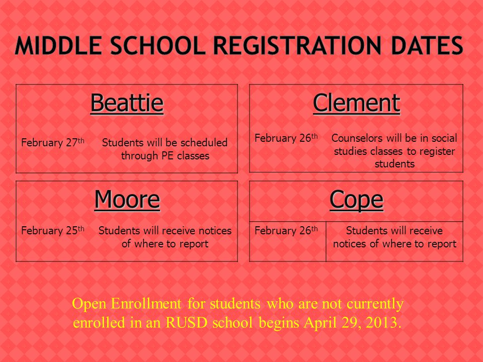 Counselors will register students starting next week.