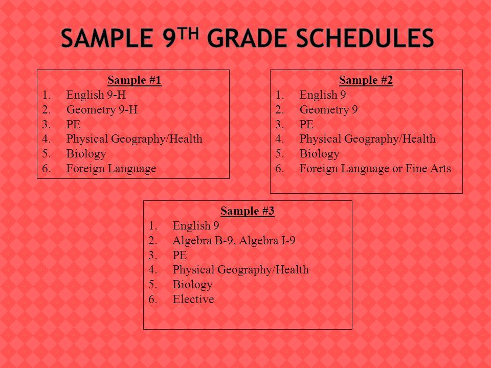 Sample #3 1. English 9 2. Algebra B-9, Algebra I-9 3.