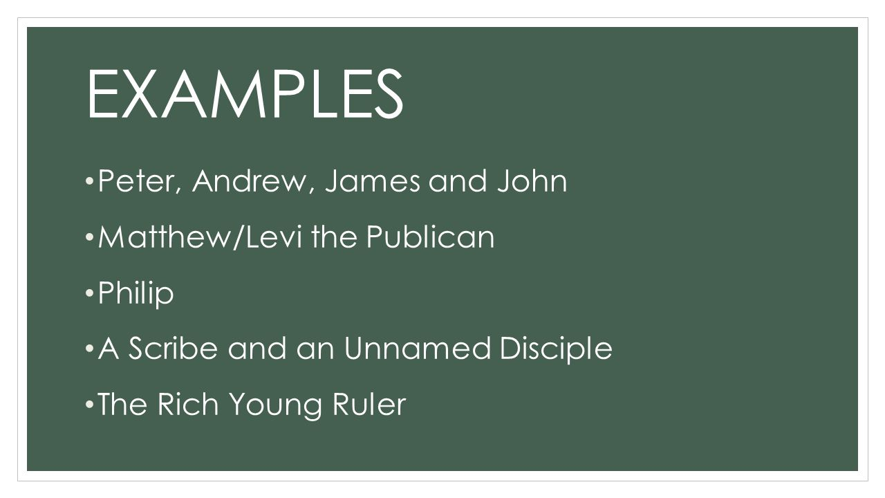 EXAMPLES Peter, Andrew, James and John Matthew/Levi the Publican Philip A Scribe and an Unnamed Disciple The Rich Young Ruler