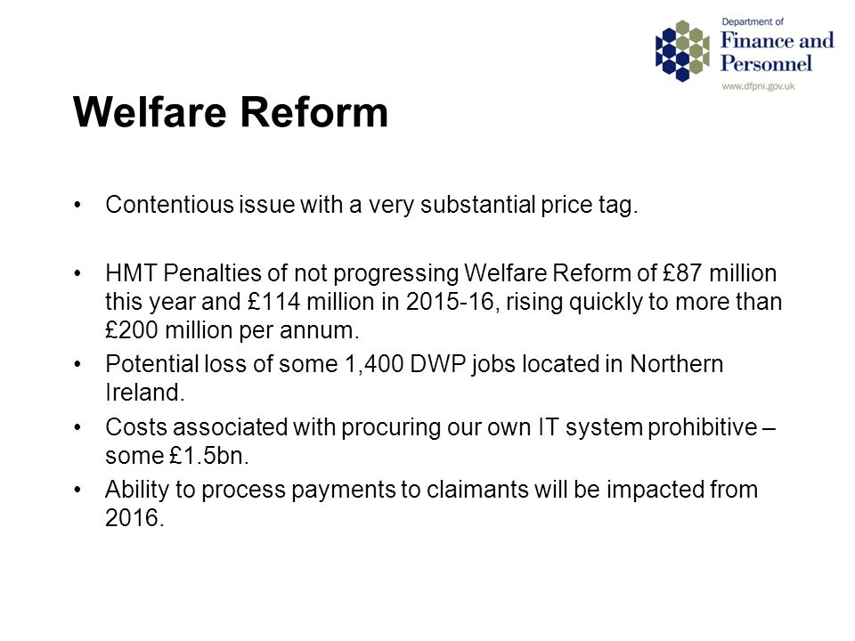 Welfare Reform Contentious issue with a very substantial price tag.