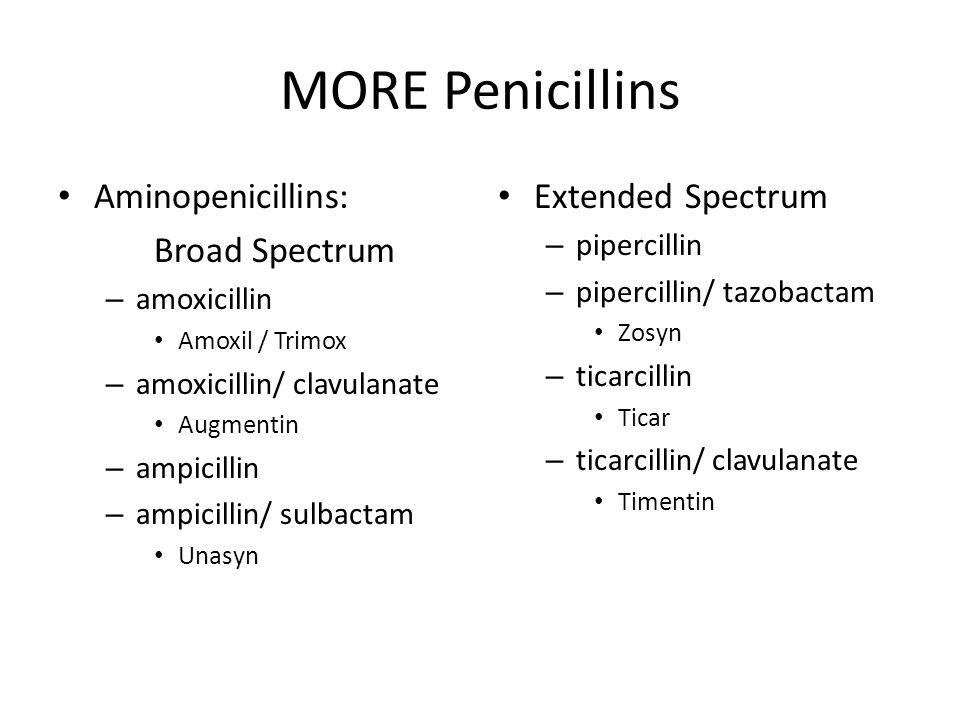 MORE Penicillins Aminopenicillins: Broad Spectrum – amoxicillin Amoxil / Trimox – amoxicillin/ clavulanate Augmentin – ampicillin – ampicillin/ sulbac