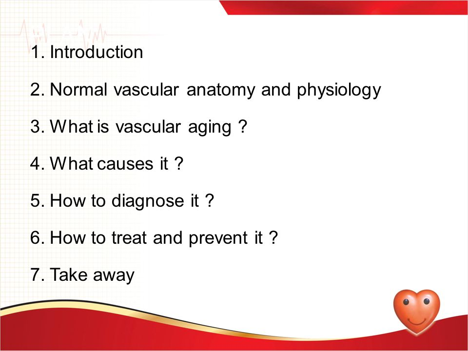 PLAN 1.Introduction 2.Normal vascular anatomy and physiology 3.What is vascular aging ? 4.What causes it ? 5.How to diagnose it ? 6.How to treat and p