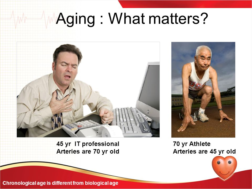 Aging : What matters? 45 yr IT professional Arteries are 70 yr old 70 yr Athlete Arteries are 45 yr old Chronological age is different from biological