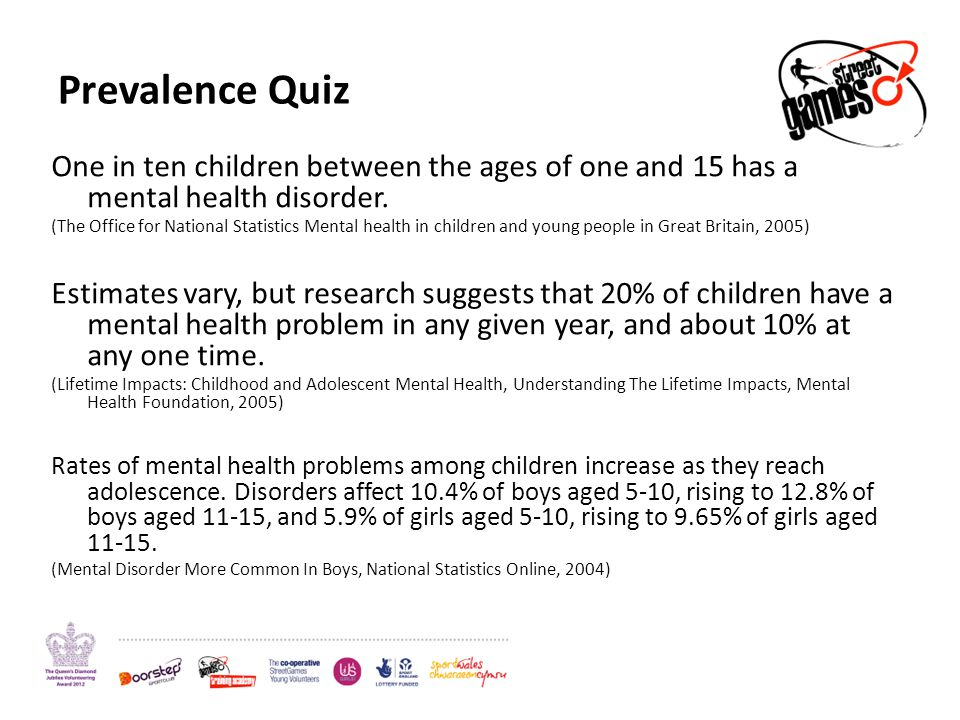 Prevalence Quiz One in ten children between the ages of one and 15 has a mental health disorder. (The Office for National Statistics Mental health in