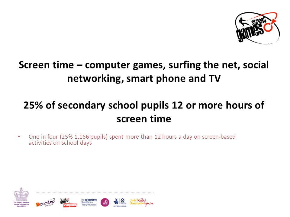 Screen time – computer games, surfing the net, social networking, smart phone and TV 25% of secondary school pupils 12 or more hours of screen time On