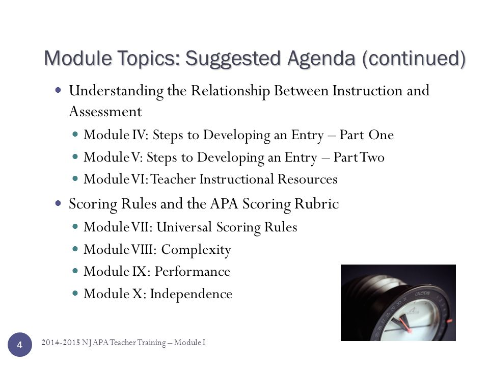 Module Topics: Suggested Agenda You may choose to view all of the modules in one day, or view groups of modules over several days.
