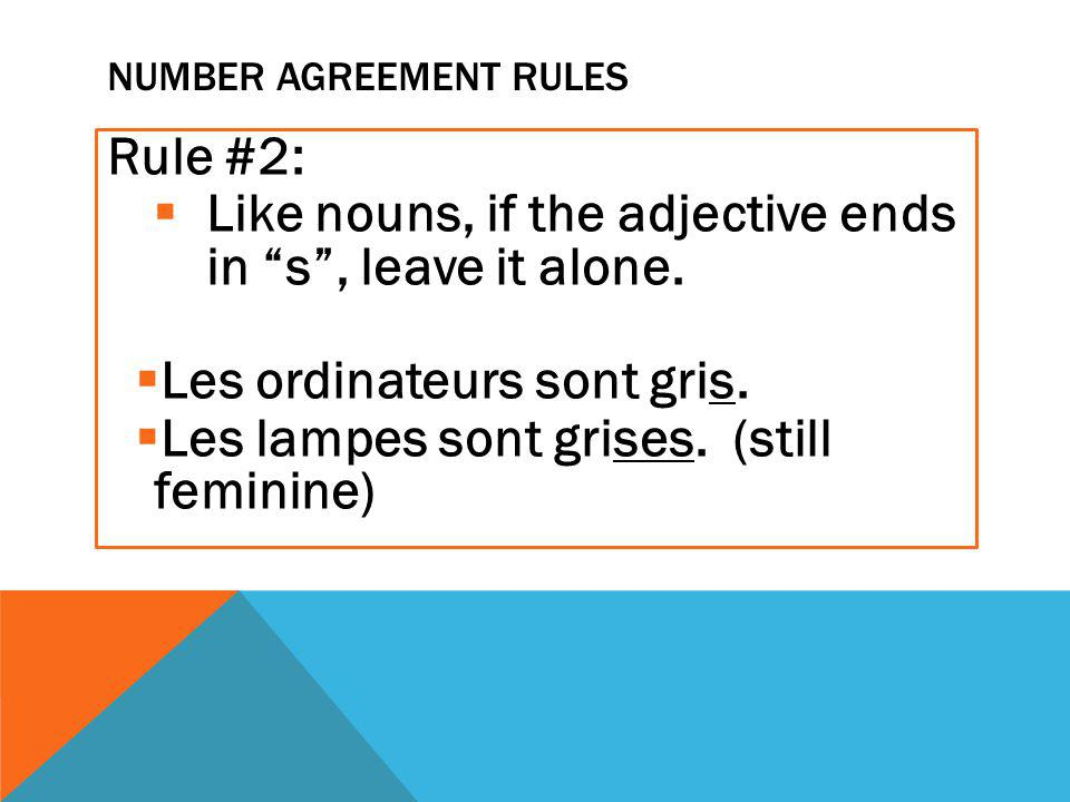 NUMBER AGREEMENT RULES Rule #2:  Like nouns, if the adjective ends in s , leave it alone.